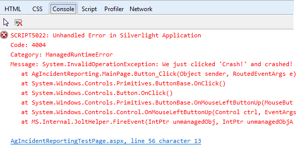 Console in IE9 after a crash using basic Silverlight exception handling with debugger attached