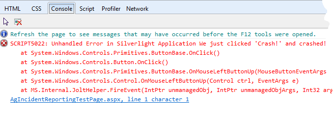 Console in IE9 after a crash using basic Silverlight exception handling