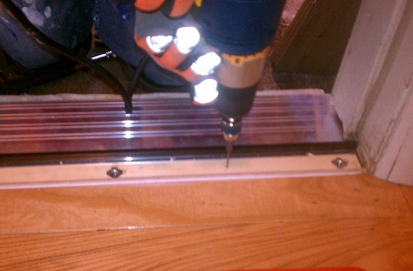 Drilling pilot holes for the screws that will secure the threshold & Replacing a Door Threshold \u2013 somewhat abstract