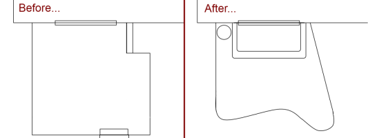 Sketched plan of the deck before and patio after