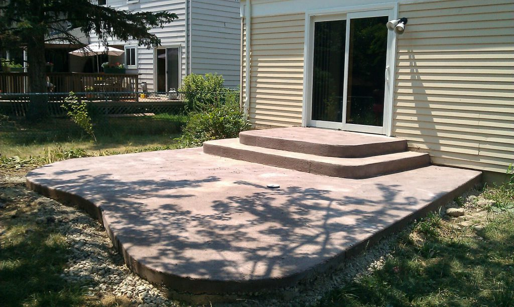 The patio before landscaping or final finish
