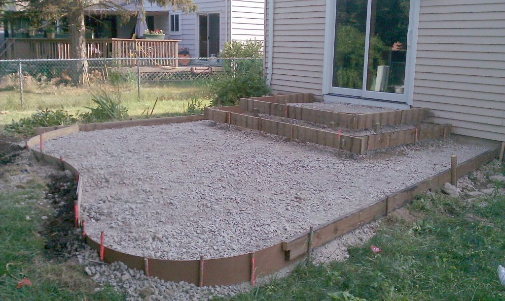 Patio framed ready for concrete