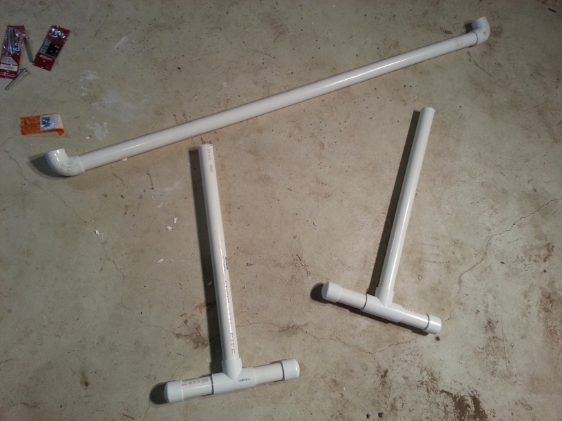 Light stand legs and cross bar assembled