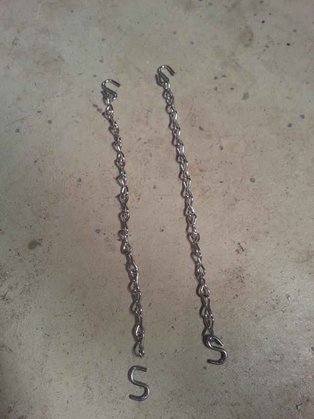 Chains showing S hook before being attached and after