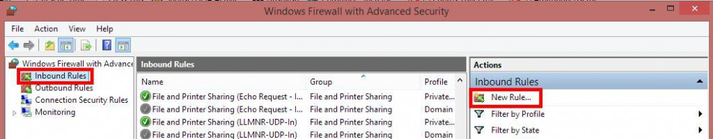 Inbound rules in Windows Firewall