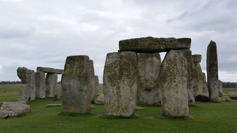 Stonehenge with cement repairs visible on the left-most foreground sarsen stone