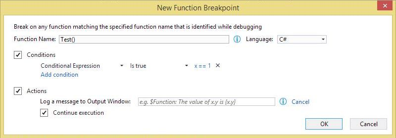 Adding a function breakpoint