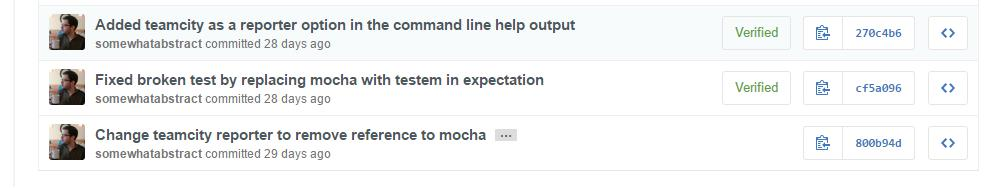 Shows some commits on GitHub with the Verified indicator showing those that have been signed