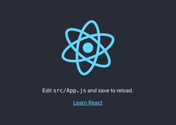 "Screenshot of the website created by the create-react-app tool. It shows the React logo in blue, over a dark grey background, with the text ""Edit src/App.js and save to reload."" and a link labelled, ""Learn React"""